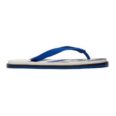 Fendi Navy & White Logo Flip Flops