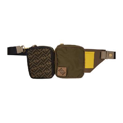 Fendi Green & Black Canvas Multi Pouch 'Forever Fendi' Belt Bag