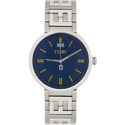Fendi Silver & Blue 'Forever Fendi' Watch