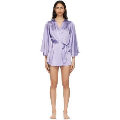 Fleur du Mal SSENSE Exclusive Purple Silk Angel Sleeve Robe