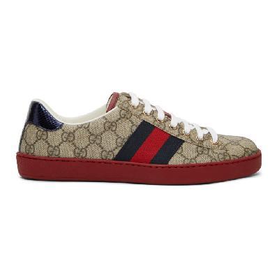 Gucci Beige GG Supreme New Ace Sneakers