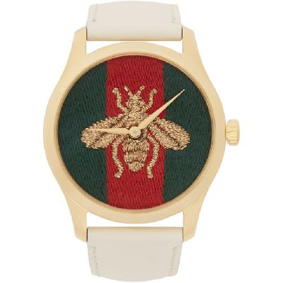 Gucci Gold and White Leather Bee G-Timeless Watch