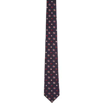 Gucci Navy & Red Interlocking G Apples Tie