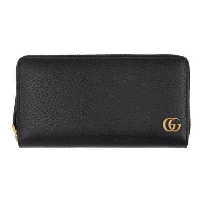 Gucci Black GG Marmont Zip-Around Wallet