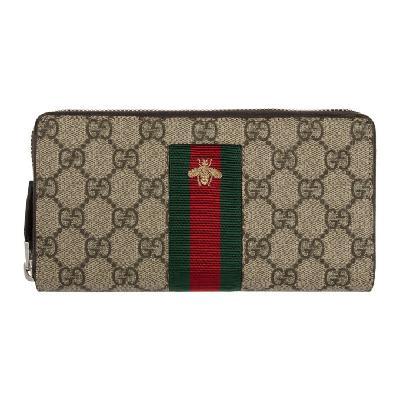 Gucci Beige Web GG Supreme Zip-Around Wallet