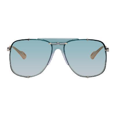 Gucci Silver & Blue Bold Bridge Sunglasses