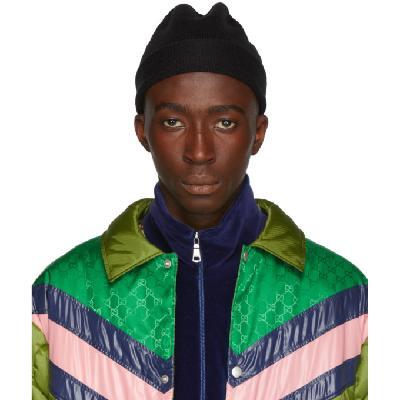 Gucci Black Wool Web Beanie