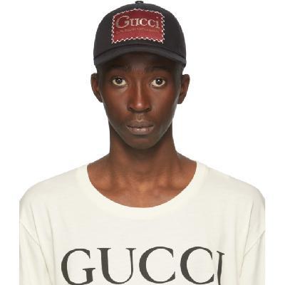 Gucci Black 'Whatever The Season' Label Baseball Cap