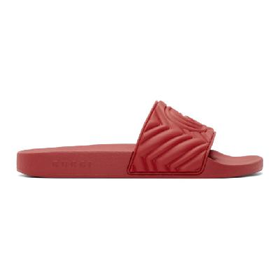 Gucci Red Quilted GG Pool Slides