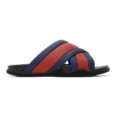 Gucci Blue & Red Agrado Slip-On Sandals