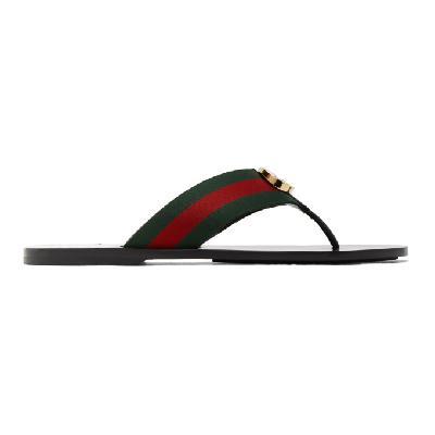 Gucci Red & Green Kika Thong Sandals