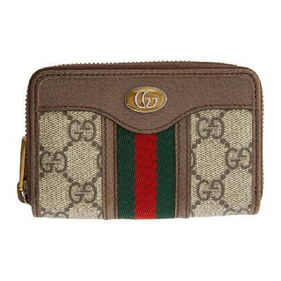 Gucci Beige & Brown Ophidia Zip Around Card Holder
