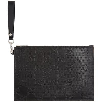 Gucci Black GG Embossed Tennis Pouch