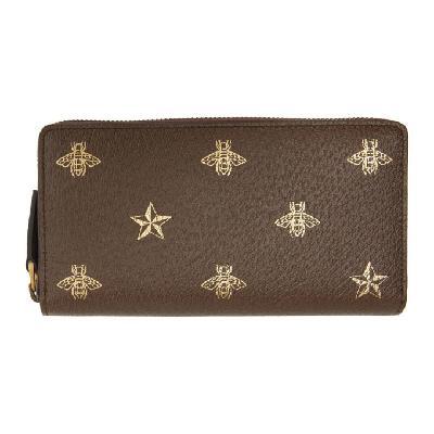 Gucci Brown Bee Star Zip Around Wallet