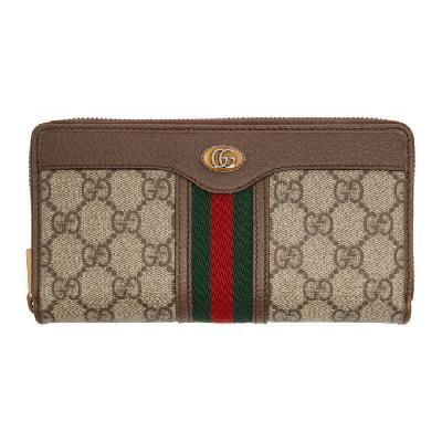 Gucci Beige GG Ophidia Zip Around Wallet