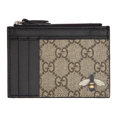 Gucci Beige GG Bee Zip Card Holder