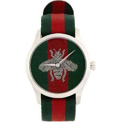 Gucci Green and Red G-Timeless Bee Watch