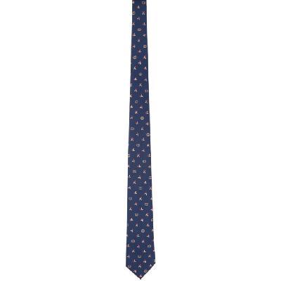 Gucci Navy & Yellow Silk Interlocking G Flowers Tie
