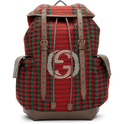 Gucci Red & Green Houndstooth GG Backpack