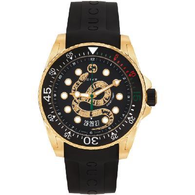 Gucci Black & Gold Snake Dive Watch