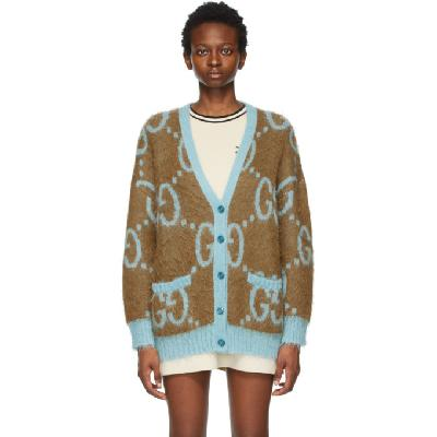 Gucci Reversible Brown & Blue Mohair Oversized GG Cardigan