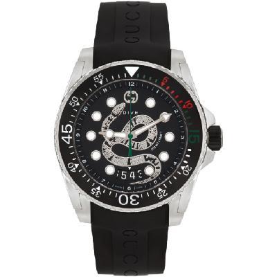 Gucci Black & Silver Snake Dive Watch