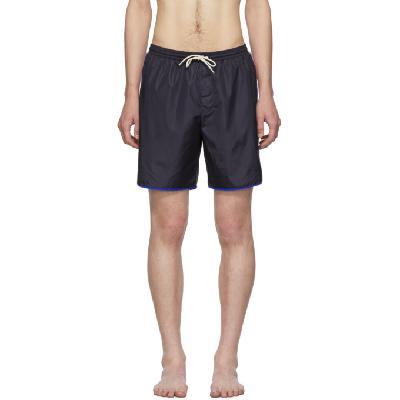 Gucci Navy Logo Stripe Swim Shorts