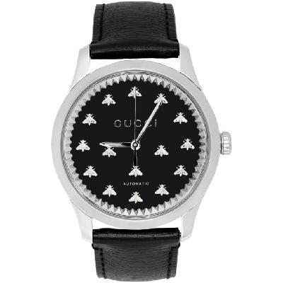 Gucci Silver & Black G-Timeless Automatic Bees Watch