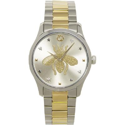Gucci Silver & Gold G-Timeless Bee Watch