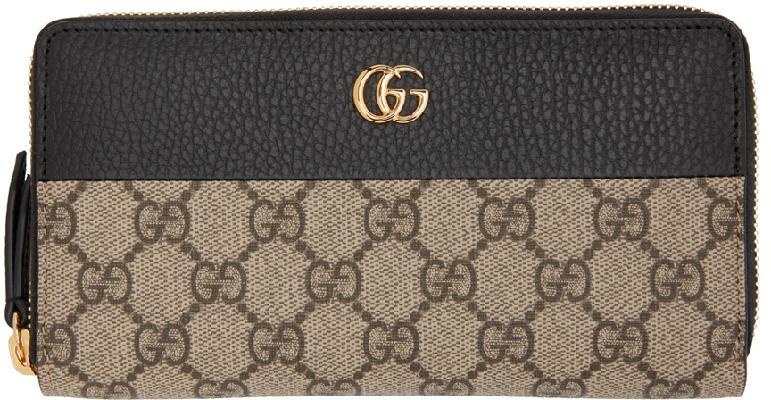 Gucci Black & Beige GG Marmont Zip Around Wallet