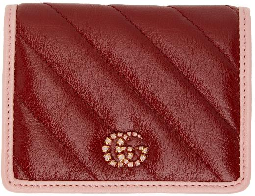Gucci Red & Pink GG Marmont Bifold Card Holder
