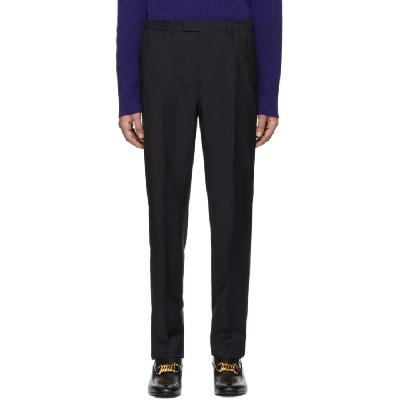 Gucci Navy Satin Piping Trousers