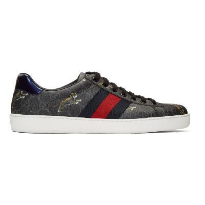 Gucci Black & Grey Supreme Ace GG Tiger Sneakers