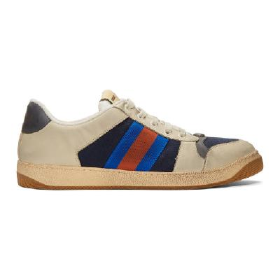 Gucci Off-White & Navy GG Screener Sneakers