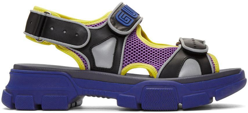 Gucci Black & Blue Aguru Sandals