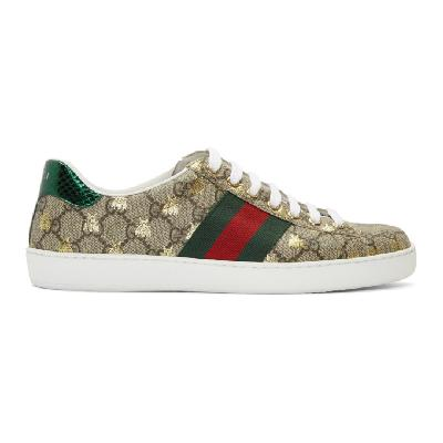 Gucci Beige & Brown GG Supreme Bees Ace Sneakers