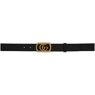 Gucci Black Leather Framed GG Belt