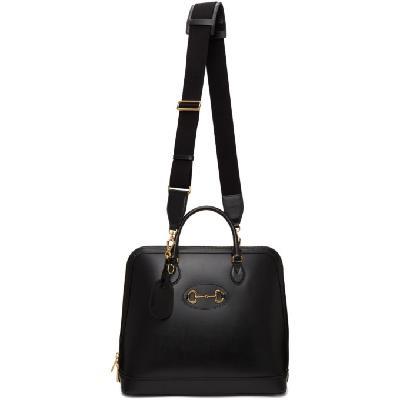 Gucci Black Large 'Gucci 1955' Horsebit Top Handle Tote