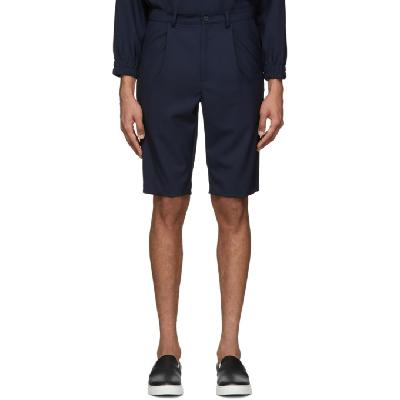 House of the Very Islands Navy Wool Bumper Shorts