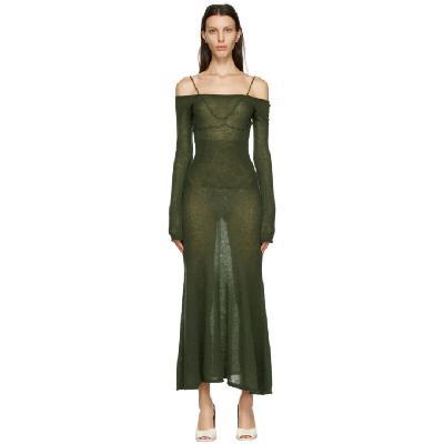Jacquemus Khaki Mohair La Robe Maille Lauris Long Dress
