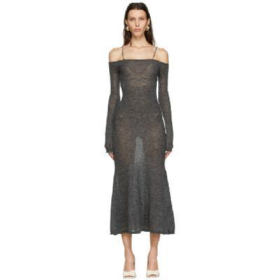 Jacquemus Grey Mohair La Robe Maille Lauris Long Dress
