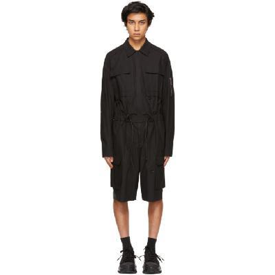 Juun.J Black Multi-Pocket Short Jumpsuit