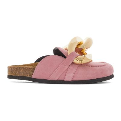 JW Anderson Pink Suede Chain Loafers