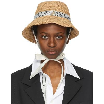 JW Anderson Tan Oscar Wilde Asymmetric Bucket Hat