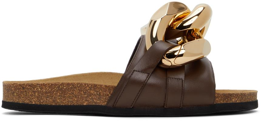 JW Anderson Brown Chain Loafer Slides