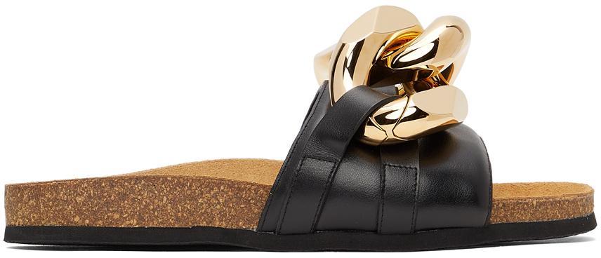 JW Anderson Black Chain Loafer Slides
