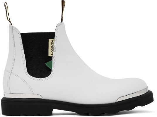 Lanvin White Calfskin Chelsea Boots