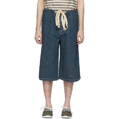 Loewe Blue Denim Drawstring Shorts