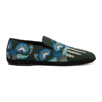 Loewe Green William De Morgan Canvas Toes Loafers