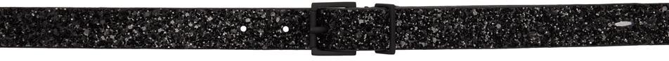 Maison Margiela Black Leather Glitter Basic Belt